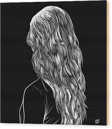 Wood Print featuring the drawing Hair In Black by Giuseppe Cristiano