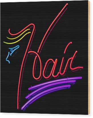 Hair In Neon Wood Print