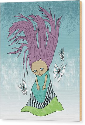 Hair Is A Tree Wood Print by Lindsey Cormier