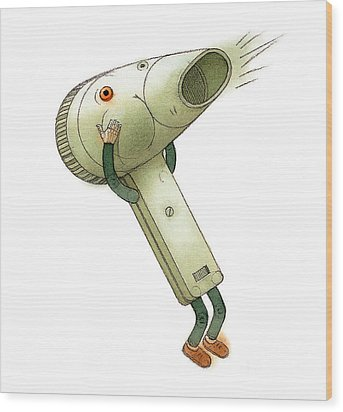 Hairdryer Wood Print by Kestutis Kasparavicius
