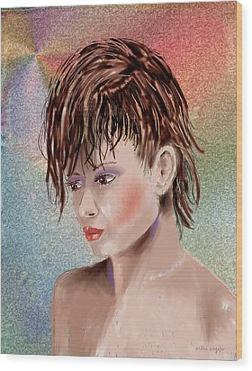 Hairstyle Of Colors Wood Print by Arline Wagner