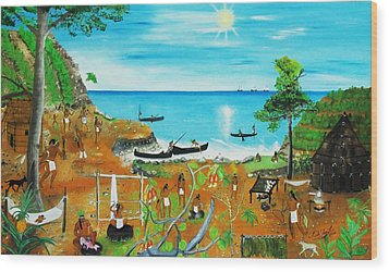 Haiti 1492 Before Christopher Columbus Wood Print by Nicole Jean-Louis