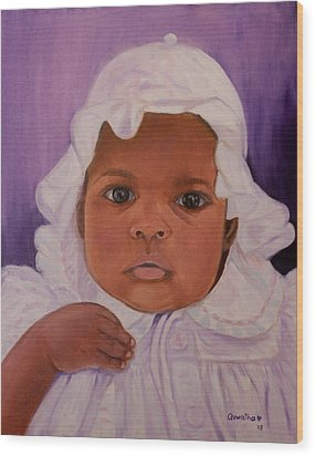 Wood Print featuring the painting Haitian Baby Orphan by Quwatha Valentine