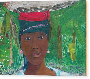 Haitian Woman   2 Wood Print by Nicole Jean-Louis