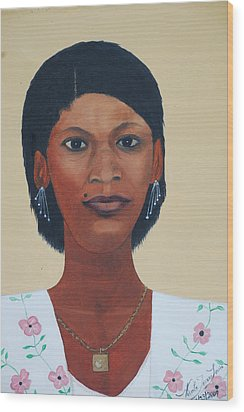 Wood Print featuring the painting Haitian Woman Portrait by Nicole Jean-Louis