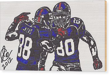 Hakeem Nicks And Victor Cruz Wood Print by Jeremiah Colley