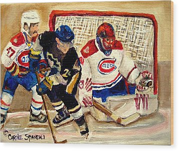 Halak Catches The Puck Stanley Cup Playoffs 2010 Wood Print by Carole Spandau