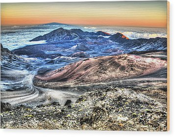Haleakala Crater Sunset Maui Wood Print by Shawn Everhart