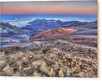 Wood Print featuring the photograph Haleakala Crater Sunset Maui II by Shawn Everhart
