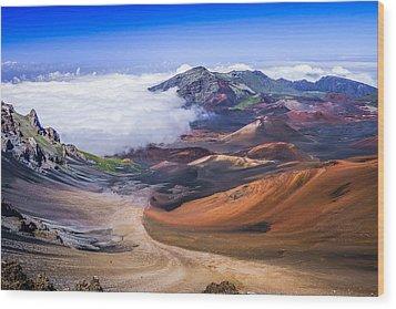 Haleakala Craters Maui Wood Print by Janis Knight