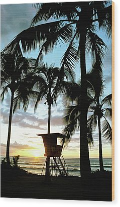 Haleiwa Sunset Wood Print by Kevin Munro