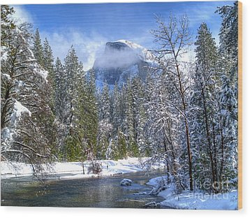 Half Dome And The Merced River Wood Print by Bill Gallagher