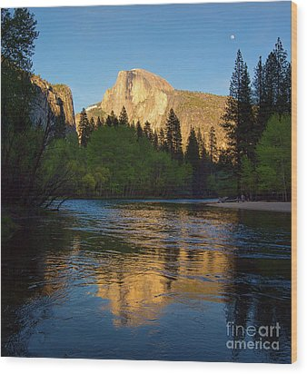 Half Dome And The Merced River With The Moon Wood Print