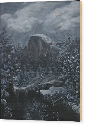 Half Dome Black And White  Wood Print by Travis Day