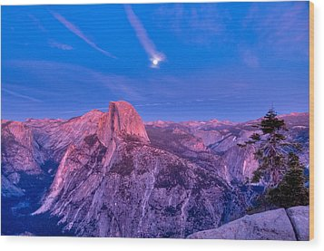 Half Dome Pink Sunset Full Moon Wood Print