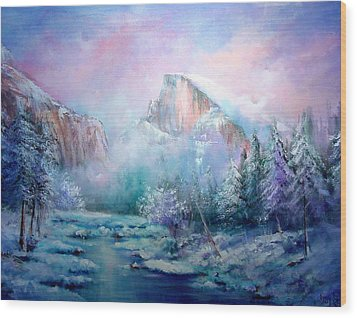 Half Dome Snow Wood Print by Sally Seago