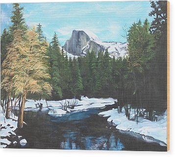 Half Dome Snow Wood Print by Travis Day