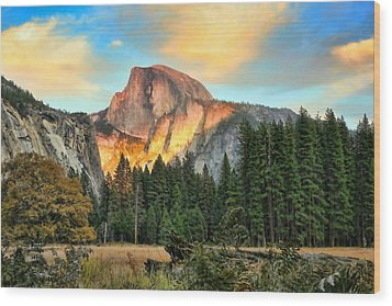 Half Dome Sunset Wood Print by Chuck Kuhn