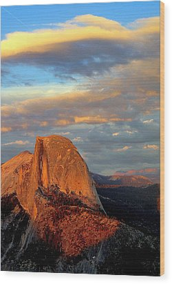Half Dome Sunset Colorful Clouds Vertical Wood Print by Jeff Lowe