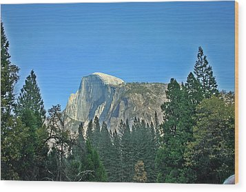 Half Dome Through The Trees 1 Ahwahnee Drive Yosemite National Park Ca Wood Print by Duncan Pearson