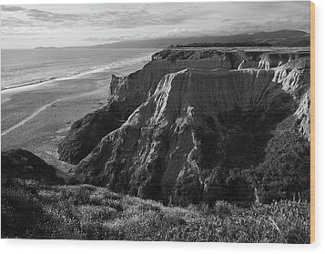 Half Moon Bay II Bw Wood Print