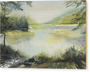 Half Moon Pond Wood Print by Judith Levins
