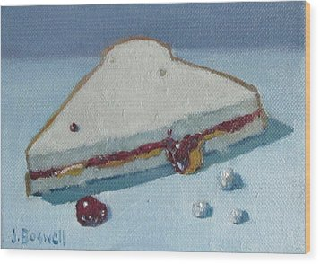 Half Pb And J With Crumbs Series 5 Wood Print by Jennifer Boswell