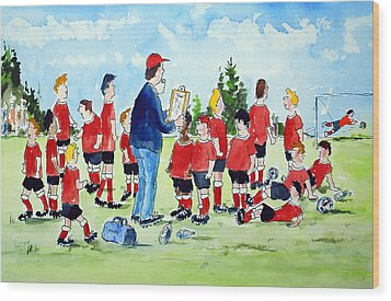 Half Time Pep Talk Wood Print by Wilfred McOstrich