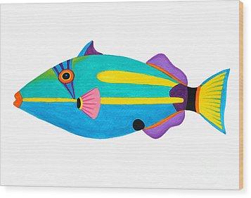 Halfmoon Triggerfish  Wood Print by Opas Chotiphantawanon