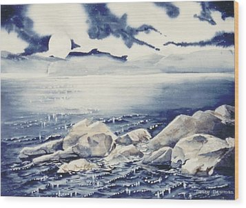 Haliburton-rocks Wood Print by Nancy Newman