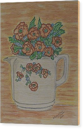 Wood Print featuring the painting Hall China Orange Poppy And Poppies by Kathy Marrs Chandler