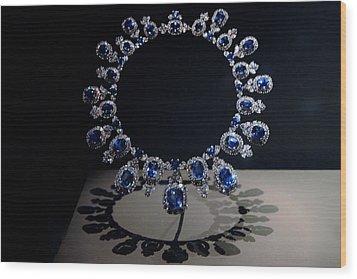 Hall Sapphire And Diamond Necklace Wood Print by LeeAnn McLaneGoetz McLaneGoetzStudioLLCcom