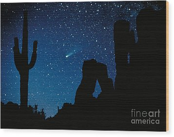 Halley's Comet Wood Print by Frank Zullo