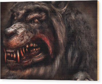 Halloween -  Mad Dog Wood Print by Mike Savad