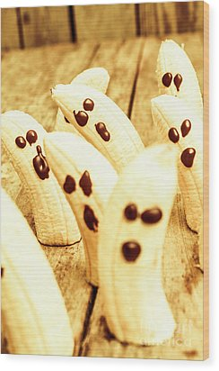 Halloween Banana Ghosts Wood Print