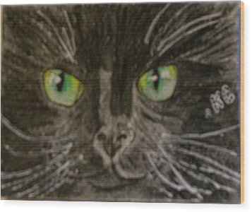 Halloween Black Cat I Wood Print by Kathy Marrs Chandler