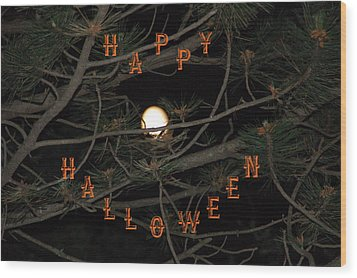 Halloween Card Wood Print