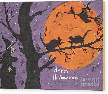 Halloween Cat Fight Wood Print by Jeffrey Koss