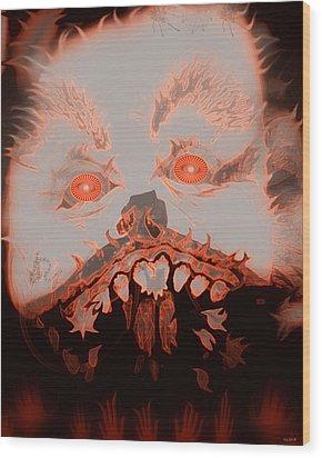 Halloween Devil Wood Print by Linda Galok