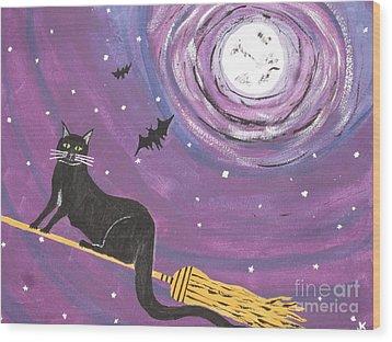Halloween Flying  Black Cat Wood Print by Jeffrey Koss