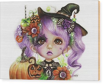 Wood Print featuring the drawing Halloween Hannah - Munchkinz Character  by Sheena Pike