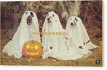 Halloween Hounds Wood Print