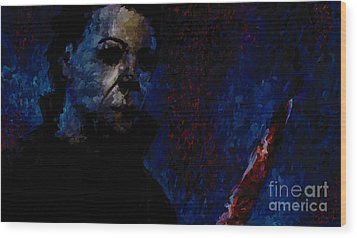 Halloween Michael Myers Signed Prints Available At Laartwork.com Coupon Code Kodak Wood Print by Leon Jimenez