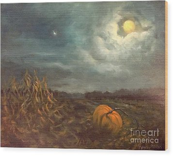 Halloween Mystery Under A Star And The Moon Wood Print