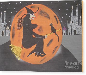 Wood Print featuring the painting Halloween Night At Disneyland by Jeffrey Koss