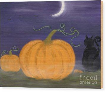 Halloween Night Wood Print by Roxy Riou