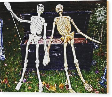 Halloween Skeleton Couple Wood Print