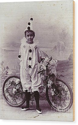 Halloween Pierrot Boy With Antique Bicycle Circa 1890 Wood Print by Peter Gumaer Ogden