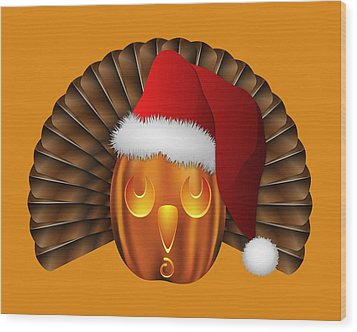 Hallowgivingmas Santa Turkey Pumpkin Wood Print