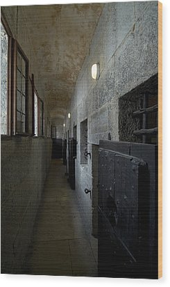 Hallway With Doors To Cells Wood Print by Todd Gipstein